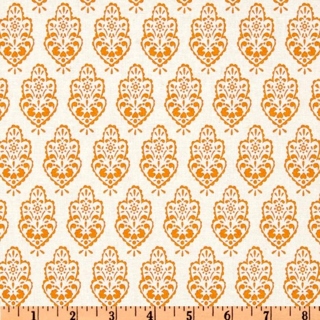 Dena Designs Sunshine Linen Blend Ornament Orange Fabric contemporary fabric