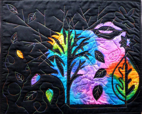 Black and Rainbow Decorative Quilt Wall Hanging by Elle's Dragons -