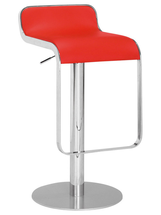 ZUO MODERN - Equino Barstool Red - With its slight lip back and flat seat, the Equino is comfortable and stylish. It has a washable leatherette seat, chrome plated steel frame, matte silver base, and adjustable lift from counter to bar.