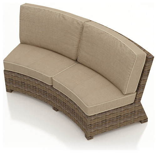 Cypress Curved Outdoor Sectional Sofa Spectrum Mushroom