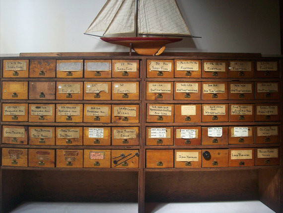 Vintage Hardware Store Bins And Plywood Shelving Cabinet