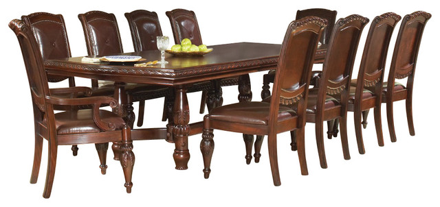 Steve silver antoinette 11 piece 96x48 dining room set for 11 piece dining table