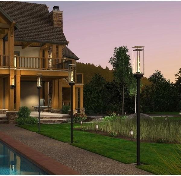 Landscape Lighting Garden Post : Grand effects vertical torch deck mount quot tall post