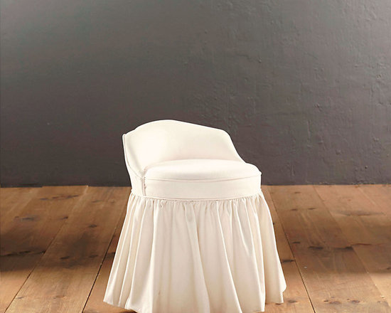 Ballard Designs - Swivel Stool Slipcover - Sewn of machine washable cotton. Spot clean.