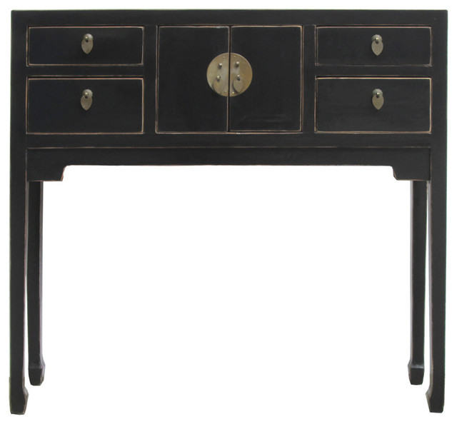 Chinese rustic black narrow slim pedestal side table for Slim side table