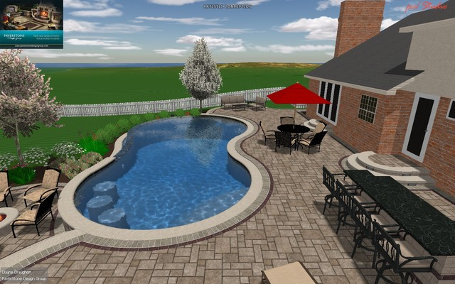 Gunite Pool Design w/Outdoor Living Space traditional-rendering