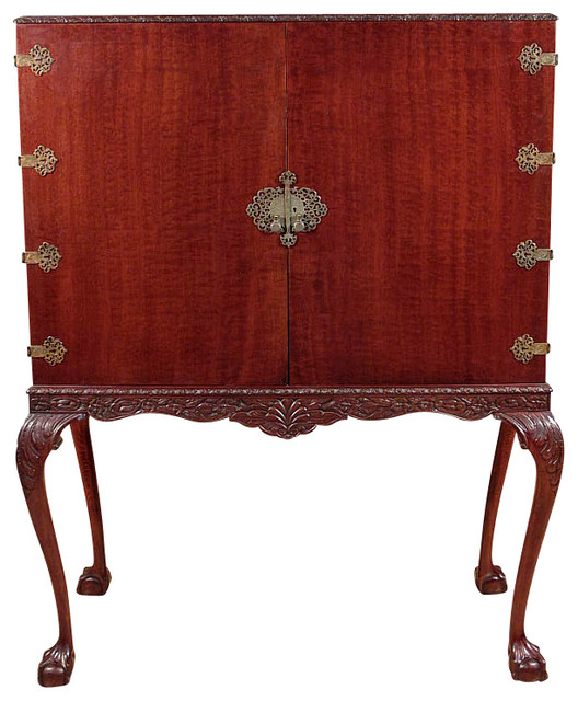 Antique Chippendale Cherry Cocktail Liquor Cabinet Bar - Traditional - Wine And Bar Cabinets ...