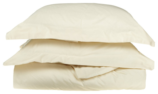1000 Thread Count Egyptian Cotton King/Cal-King Ivory Solid Duvet Set traditional-duvet-covers