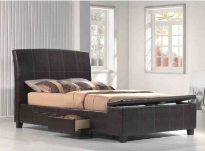 Irvine Upholstered Storage Bed - Chocolate Faux Leather modern-beds
