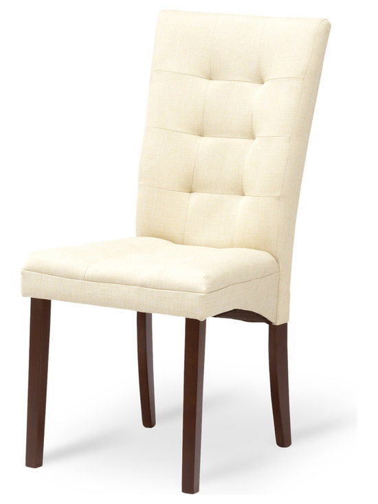 Bryght - Anne Khaki Fabric Upholstered Light Cappuccino Dining Chair - Comfort and elegance come together in this classic tufted dining chair. The Anne dining chair is sure to add character to your dining room decor.