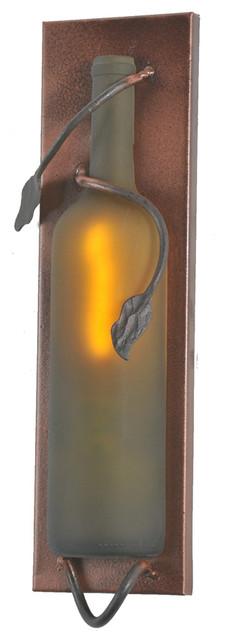 "Meyda Lighting 99633 4""W Tuscan Vineyard Frosted Green Wine Pocket Wall Sconce traditional-wall-lighting"