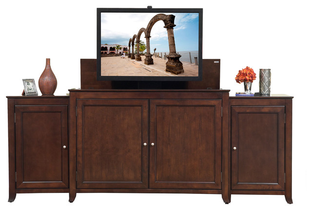 Monterey TV Lift Cabinet With Side Cabinets For Flat Screen TV's Up To ...