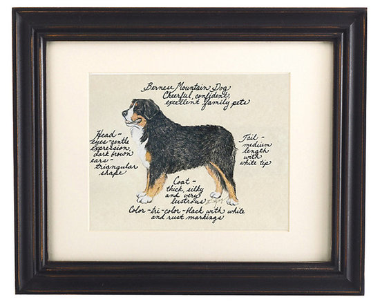 Ballard Designs - Bernese Mountain Dog Print - Hand colored & signed. Printed on parchment. Eggshell mat. Antique black frame. Our Bernese Mountain Dog Print was created by the dog-loving, husband and wife team of Vivienne and Sponge. The Bernese Mountain Dog is known for being cheerful, confident and an excellent family pet. Each Bernese Mountain Dog portrait is hand colored and embellished with notes on the breed's special characteristics. Printed on antiqued parchment, signed by the artists and framed in antique black wood with eggshell mat and glass front. Bernese Mountain Dog Print features: . . . .