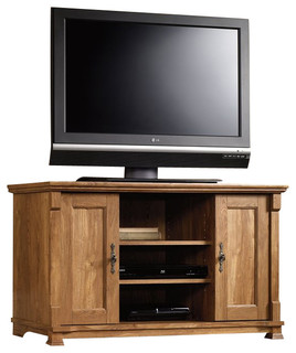 Sauder French Mills Panel TV Stand in American Chestnut - Transitional - Media Storage - by Cymax