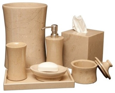 Vinca 7 piece bathroom accessories verona beige marble for Beige bathroom set