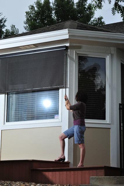 Exterior Solar Screen Shades With Crank Control modern-roller-shades