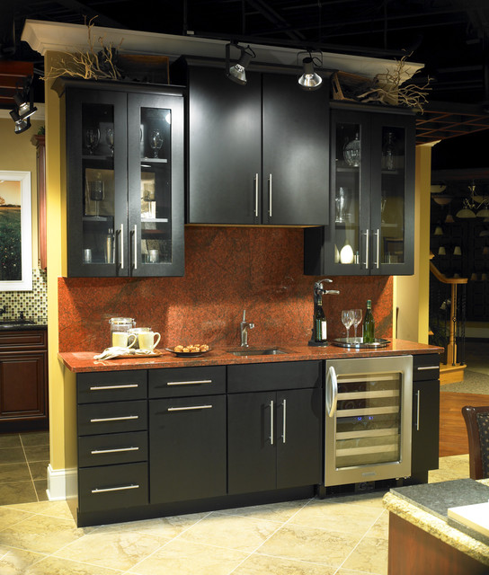 Metropolitan maple square with onyx finish contemporary for Kitchen cabinets yorktown ny