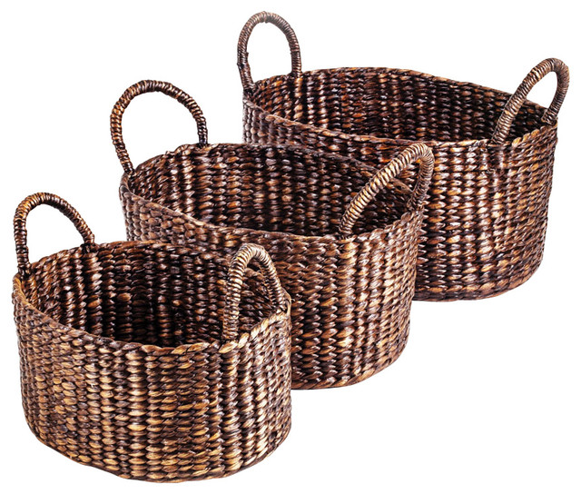 New Rustics Patina Oval with Handle Water Hyacinth Basket Set of 3 traditional-baskets