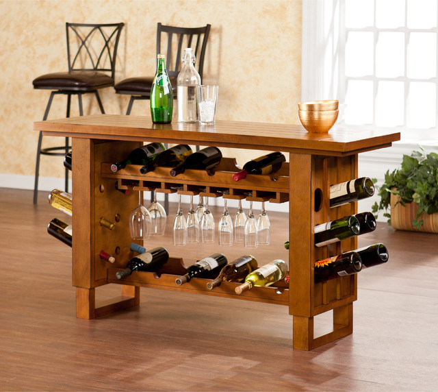 Upton Home Meridian Riddling Wine Console/ Bar Table - Contemporary - Wine And Bar Cabinets - by ...
