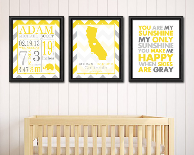 Baby birth announcement, baby birth stats prints modern-nursery-decor