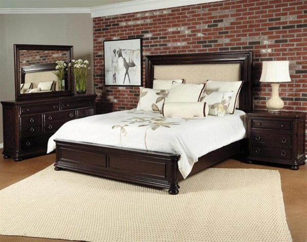 King Bedroom Set In Chest Nut 85 Transitional Bedroom Furniture Sets