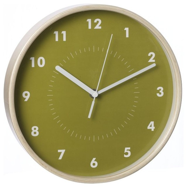 Simple Wood Wall Clock Green Modern Wall Clocks By West Elm