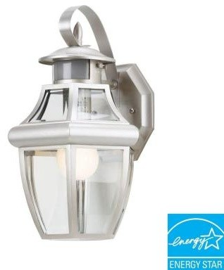 Hampton Bay Flood Lights. Brushed Nickel 1-Light Motion-Sensing