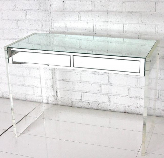 Mirror amp Lucite DeskVanity Modern Desks And Hutches