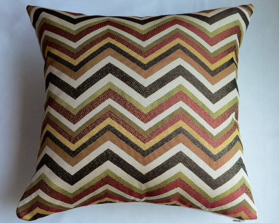 KH Window Fashions, Inc. - Chevron Pillow Cover in Spice- Orange, Green, Brown and Ivory - Chevron pillow in spice, orange, green, brown and ivory. Perfect to toss on your bed or sofa.