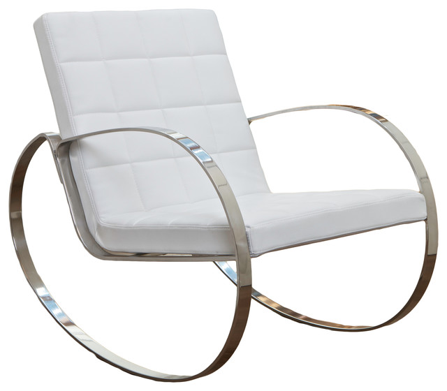 Miller Modern Design White Rocking Chair