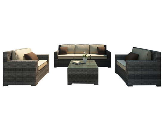 Forever Patio - Hampton 4 Piece Outdoor Wicker Sofa Set, Heather Wicker and Beige Cushions - The incredibly stylish Forever Patio Hampton 4 Piece Modern Patio Sofa Set with Cream Sunbrella cushions (SKU FP-HAM-4SS-HT-AC) will turn your patio into your new favorite spot for gathering with family and friends. The set seats 5 adults comfortably, and includes a sofa, 2 club chairs and a coffee table. This set features Heather resin wicker, which is made from High-Density Polyethylene (HDPE) for outdoor use. Each strand of this outdoor wicker is infused with its natural color and UV-inhibitors that prevent cracking, chipping and fading ordinarily caused by sunlight, surpassing the quality of natural rattan. Each piece features thick-gauged, powder-coated aluminum frames that make this patio sofa set extremely durable. Also included with the set are fade- and mildew-resistant Sunbrella cushions. Start enjoying more time out on your patio with this generously sized and incredibly comfortable wicker outdoor sofa set.