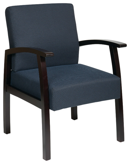 Work Smart WD Collection Deluxe Mahogany Finish Guest Chair with Mid Blue Fabric traditional-office-chairs