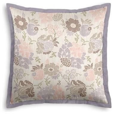 Lavender & Pink Stencil Floral Custom Euro Sham contemporary-shams