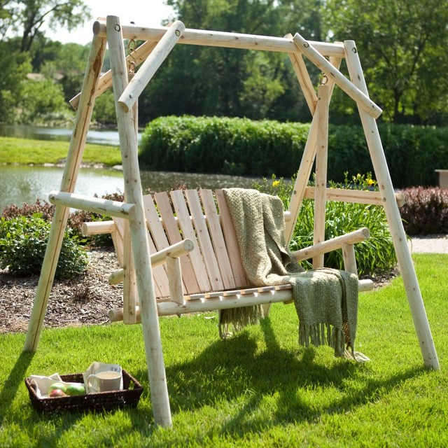 rustic natural log porch swing and a frame set modern