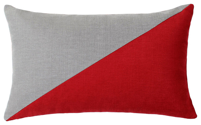 Throw Pillows Girly : Duo Red & Grey Throw Pillow - Modern - Decorative Pillows - by LaCozi