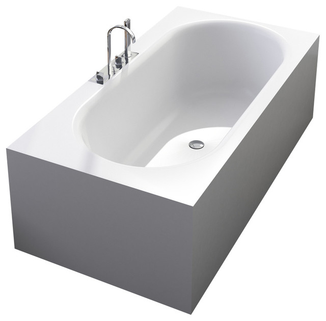 Stand Alone Bathtubs : ADM Matte White Stand Alone Resin Bathtub, Glossy - Modern - Bathtubs ...