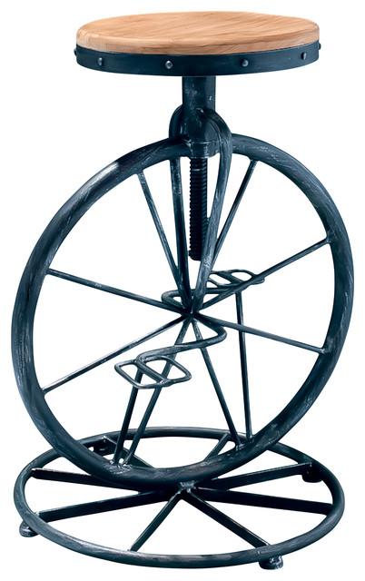 Charles Bicycle Wheel Adjustable Bar Stool Industrial