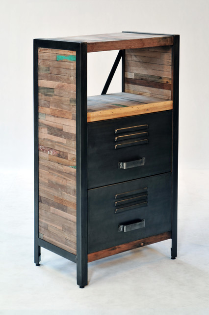 Industrial Locker Room Style 2 Drawer 2 Shelf Cabinet