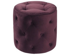 Curves Tufted Round Ottoman, Purple contemporary-footstools-and-ottomans