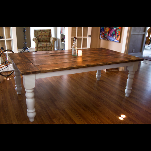 7ft oversized farmtable with spun legs rustic dining for 7ft dining room table