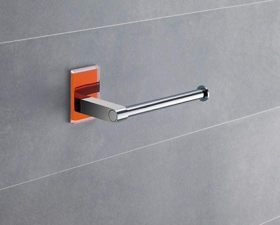 Modern Round Chrome Toilet Roll Holder With Orange Mounting contemporary-toilet-paper-holders