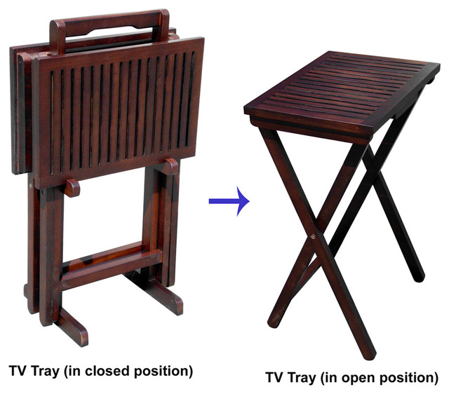 Mahogany TV Tray Set Of 2 Tables And 1 Stand Contemporary Tv Trays