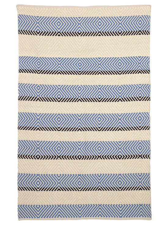 Fab Habitat - Tranquil Indoor Cotton Rug, Snow White & Faded Denim, 6x9 - Hand-woven from recycled cotton, this soft area rug is loaded with casual charm. Use it to dress up an informal space or to relax a traditional setting. With its classic stripes and understated colors, it's an ideal choice for any room.