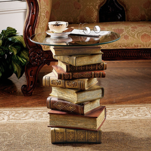 Power of Books Sculptural Glass Topped End Table modern-side-tables-and-end-tables