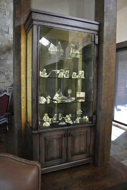 Rustic Lighted Display Cabinets traditional-display-and-wall-shelves