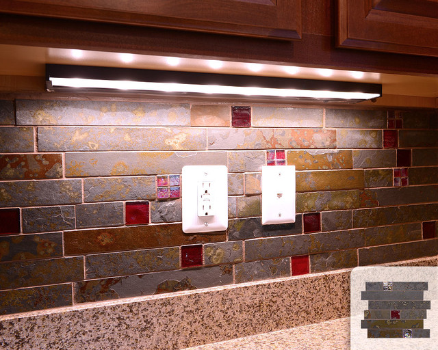 Slate subway mosaic tile red glass mix kitchen backsplash for Red and black kitchen backsplash