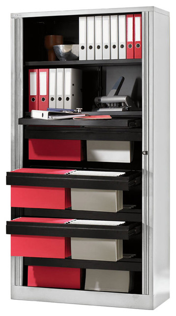 Bisley 78 Inch High Capacity Filing Tambour Cabinet in Light Gray Steel - Traditional - Filing ...
