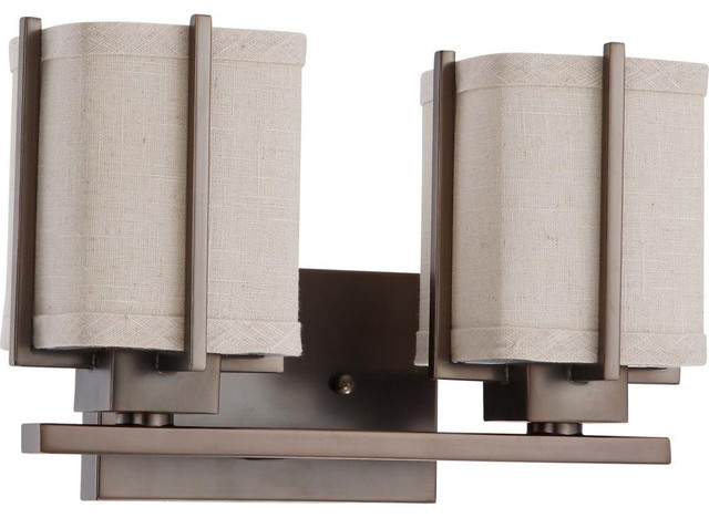 Vanity Light Fabric Shade : Nuvo Lighting 60-4482 Logan 2-Light Vanity with Khaki Fabric Shade - Transitional - Bathroom ...