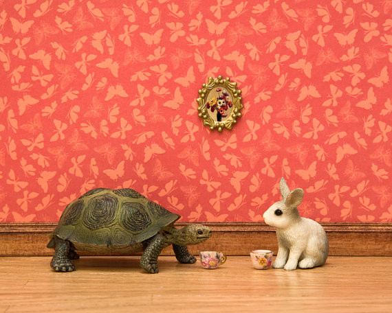Turtle And Rabbit Fairytale Art, Red By WildLifePrints eclectic nursery decor