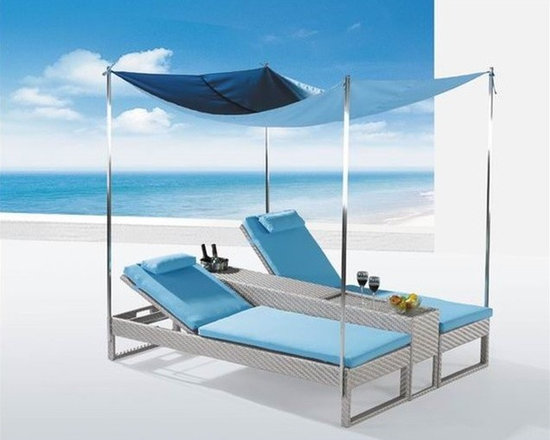 Bahama Patio Chaise Lounge w/ Canopy - Estimated 1-2 week delivery!  Only 1 set left in stock!